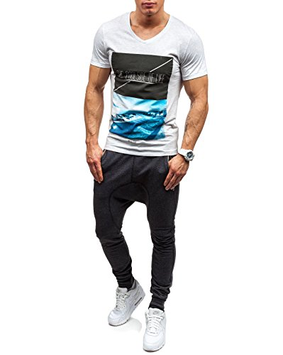 GLO STORY Herren T-shirt Figurbetont Kurzarm NEW! 7451 Hellgrau