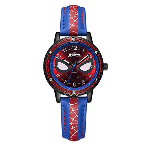ALOIW Uhr Kinder Boy Spiderman Marvel Pop Farbe Uhr Und Lederarmband Blue-A