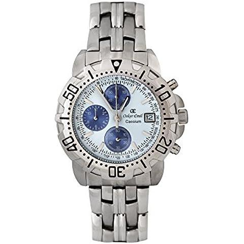Oskar Emil caseium 119G S/S white/blue - Orologio da polso, cinturino in acciaio inox colore argento