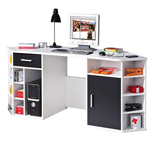 Inter Link Eckschreibtisch Büromöbel Computertisch Arbeitstisch FSC MDF Weiss und Schwarz