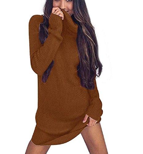 Rcool Damen Mode Langarm Pullover Rollkragen Pullover solide lässige Kleidung (XL, Gold) (Gold-rollkragen-pullover)