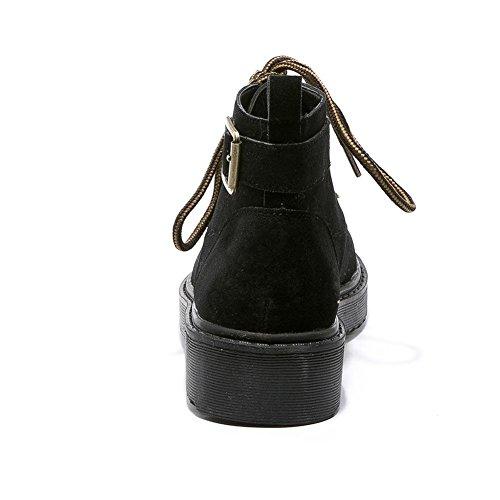 Donna Martin Stivali XYM888-6 Retro Serie di Suole Spesse Scarpe Calde Autunno e Inverno,KJJDE black mono