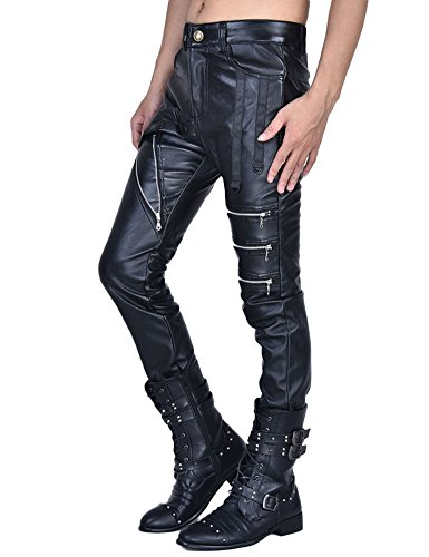 s Biker Style schwarz Kunstleder Hosen Reißverschlüsse Dekoration Hosen (Neue Dekorationen)