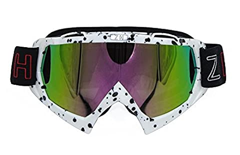 Coface Anti-Fog Snowmobile Snowboard Skate Ski Goggles with UV 400 Protection Lens Bendable OTG Frame Professional Windproof Dustproof Eyewere Glasses for Motorcycle Motocross ATV Bicycles White Frame Black