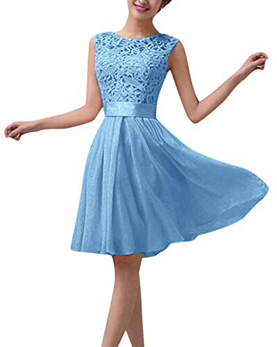 ZANZEA Damen Spitze Ärmellos Party Club Kurz Slim Abend Brautkleid Cocktail Ballkleid Blau EU 36/US 4