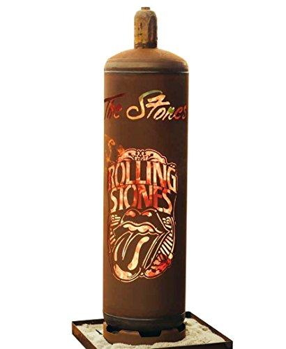 feuerstelle aus gasflasche Metallmichl Edelrost Feuerkorb Gasflasche Rolling Stones Fanartikel Höhe 128 cm Ø 30 cm, Feuerstelle extravagant und außergewöhnlich aus rost Metall in groß