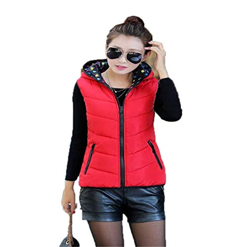 Autumn Winter Down Cotton Vest Two Sides Wearing Hooded Vest Casual Wild Vest Coat Outerwear Red XL