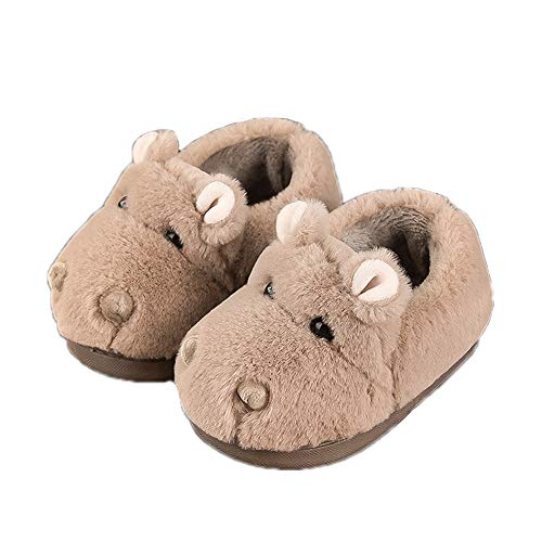 JadeRich Toddler Little Hippo Slippers Soft Cartoon Pattern Furry Home Shoes for Indoor/Outdoor