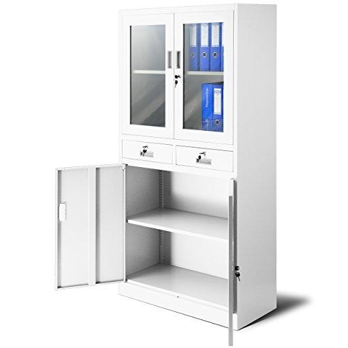 Aktenschrank C017 mit 2 Schubladen Medizinschrank Büroschrank 2 Abteile Pulverbeschichtung Stahlblech 185 cm x 90 cm x 40 cm (weiß/weiß) -