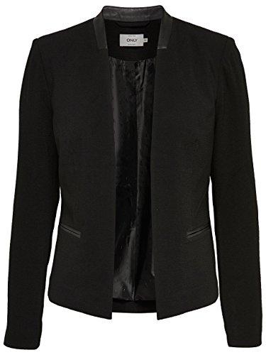 ONLY Damen Blazer Jacke onlCAMILLE BLAZER Stoff Kunstleder schwarz blau