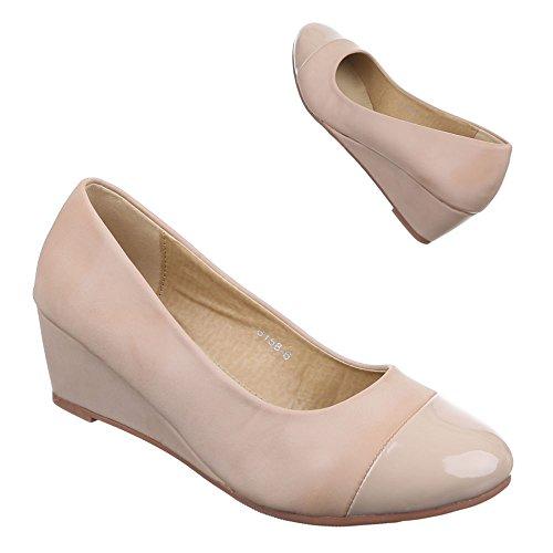 Damen Schuhe, 6158-1, PUMPS KEIL WEDGES Beige