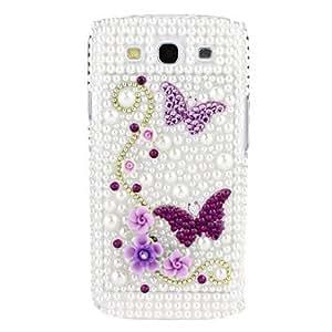 Butterfly Rhinestones Hard Case for Samsung Galaxy S3 I9300 - Purple