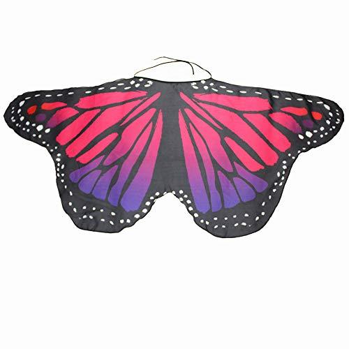 Kostüm Tinkerbell Heiße - WOZOW Kind Schmetterling Flügel Kostüm Nymphe Pixie Umhang Faschingkostüme Schals Poncho Kostümzubehör Zubehör (Heißes Rosa)