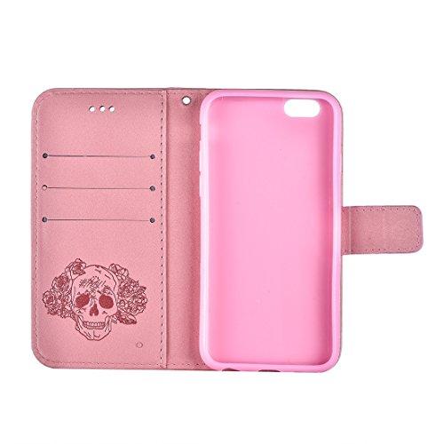 Für iPhone 6 u. 6s verrückter Pferden-Beschaffenheits-Schädel-Drucken-horizontaler Schlag-Leder-Kasten mit Halter u. Karten-Schlitzen u. Mappe u. Abziehbild für iPhone 6 u. 6s by diebelleu ( Color : P Pink