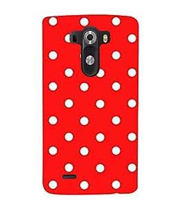 HiFi Designer Phone Back Case Cover LG G3 :: LG G3 Dual LTE :: LG G3 D855 D850 D851 D852 ( White Dot in Red Pattern Design )