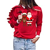 VEMOW Heißer Damen O-Ausschnitt Weihnachten Kostüm Digitaldruck Pullover T-Shirt Langarm Tops Bluse(X2-Rot, EU-38/CN-M)