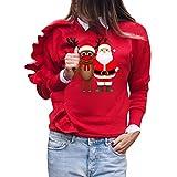 KUDICO Damen Weihnachts-Tops Lange Ärmel Xmas Santa Snowflake Elk Print ruffelten Kanten Pullover T-Shirt Bluse Sweatshirt(rot, EU-38/CN-M)