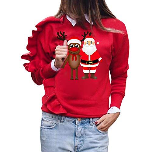 IZHH Damen Pullover Damen Xmas Christmas Deer Langarm SweaT-Shirt Pullover Shirt Tops Bluse Damen Weihnachten Print Rüschen Langarm SweaT-Shirt SweaT-Shirts Pullover Tunika Blusen T-Shirts(Rot,Medium)