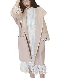 Fgfghbfhrger Veste Classique à Capuche pour Femmes en Trench-Coat en Laine  avec Gilet Outwear 50b855272f3c