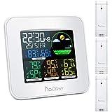 HOCOSY Station Météo sans Fil Digital Thermomètre Hygromètre Intérieur Extérieur avec Ecran LED à Trois Canaux Couleur