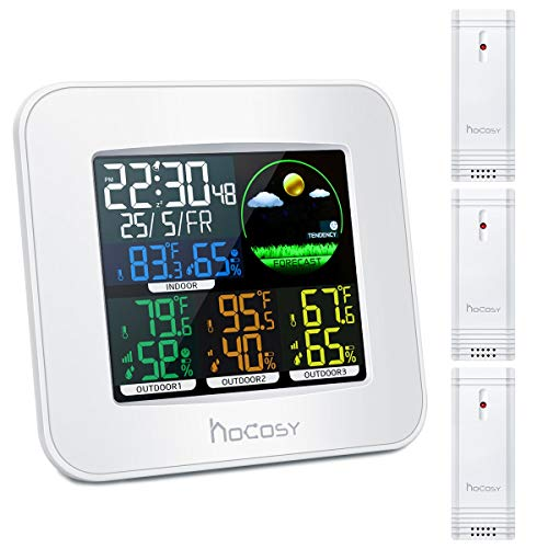 "HOCOSY Wireless Wetterstation, 3 Kanäle Digital In & Outdoor Hygrometer Thermometer Mit 3 Außensensor, Weiß, 2,4 ""x 5,9\"" x 5,1"