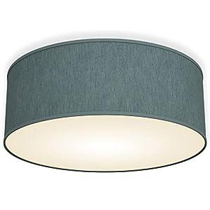 B.K.Licht Bürodeckenleuchte Deckenleuchte 30cm rund Stoff Deckenlampe (petrol-grau 2-flammig)