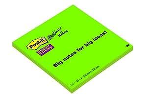 Post-it 24427 Foglietti Super Sticky, 45 Fogli, Confezione da 2 Blocchetti, 200 mm x 200 mm, Colore Lime
