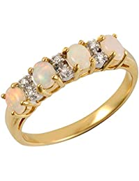 Ivy Gems 9ct Yellow Gold Opal and Diamond Half Eternity Ring