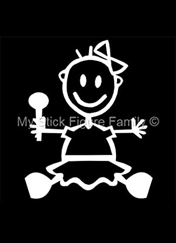 Official My Stick Figure Family Car Window Vinyl Sticker Baby Girl Sitting BG1