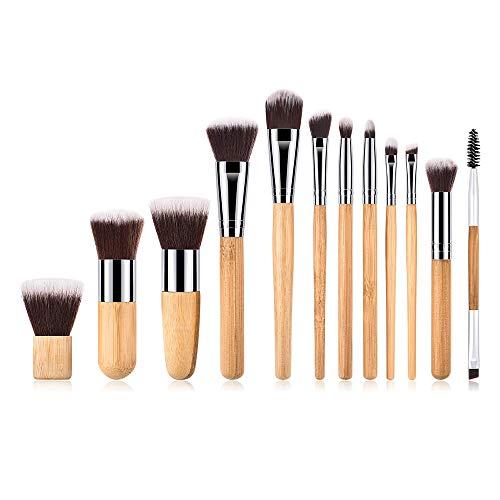 Sansee Pinceaux de maquillage 12 pièces Bambou Brosse de Maquillage Professionnel synthétique Fusion de fond de teint Concealer Eye visage liquide Poudre crème Cosmétique Pinceaux kit