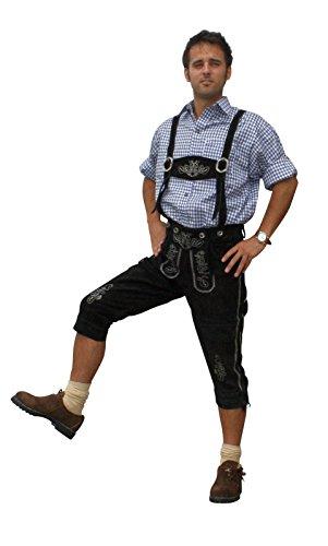Trachten Lederhose aus echtem Leder Kniebundhose Größe 46-60 (48, schwarz)