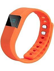 Bonss - Pulsera deportiva TW64; smartband inalámbrica con Bluetooth 4.0con función de podómetro, monitorización del sueño, contador de calorías..., naranja