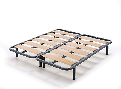 HOGAR24 Breiter Lamellenrahmen, verstärkt mit Geräuschschutzblöcken und 40 x 30 Stahlrohr + 32 cm (180 x 200 cm) zylindrische Beine (2 90 cm große Betten mit Halterungen)