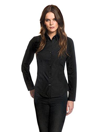 EMBRÆR Damen Bluse Modern-Fit Bügelfrei Langarm Uni mit Kontrast,schwarz,36