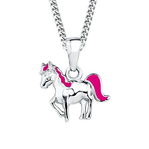Prinzessin Lillifee Kinder-Kette längenverstellbar mit Anhänger Pferd 925 Silber rhodiniert Emaille pink