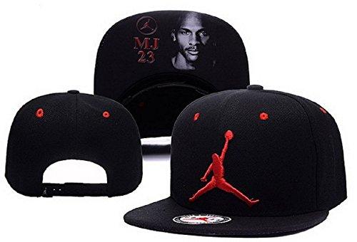Cappello Air Jordan regolabile Hip Hop Sport Fans Hyst Unisex eresen Logo cappellino da Baseball (Nero, Rosso, 2)