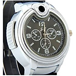 UK A2Z ® Men's Stylish Novelty Watch with Built in Refillable Gas Lighter. Black strap & Black Dial face.