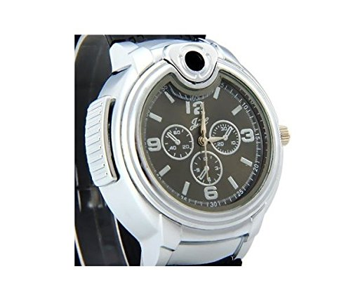 UK-A2Z--Mens-Stylish-Novelty-Watch-with-Built-in-Refillable-Gas-Lighter-Black-strap-Black-Dial-face