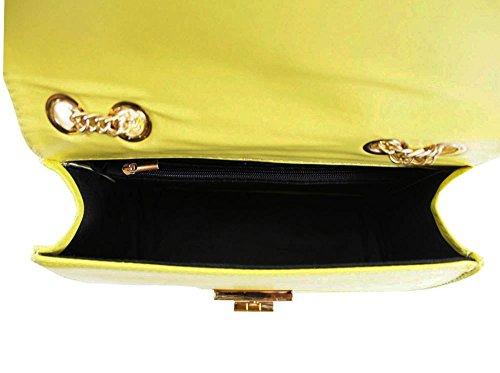 Haute für Diva S NEU gesteppt kunstleder gelbgolden Kette Band Damen Schulter Umhängetasche - Silbern, Small Gelb
