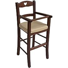 Sediolone Sgabello Sedia Seggiolone bimbo lusso in legno Noce scuro con seduta ecopelle beige imbottita già montato