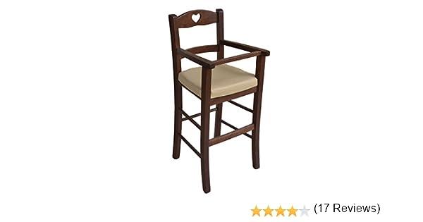 Sediolone sgabello sedia seggiolone bimbo lusso in legno noce