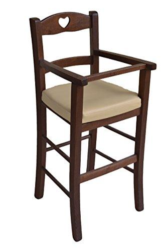 Ok Affarefatto Maddaloni Stuhl für Hochstuhl Bimbo Luxus, aus Holz, Walnussholz, mit Sitzfläche aus Kunstleder, Beige, gefüllt
