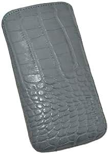 Suncase Original Echt Ledertasche mit Rückzugfunktion für Samsung Galaxy S4 i9505 croco-grau