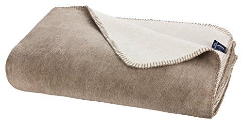 Moon Luxus Doubleface Kuscheldecke Wolldecke 150x200-beige/dunkelbeige