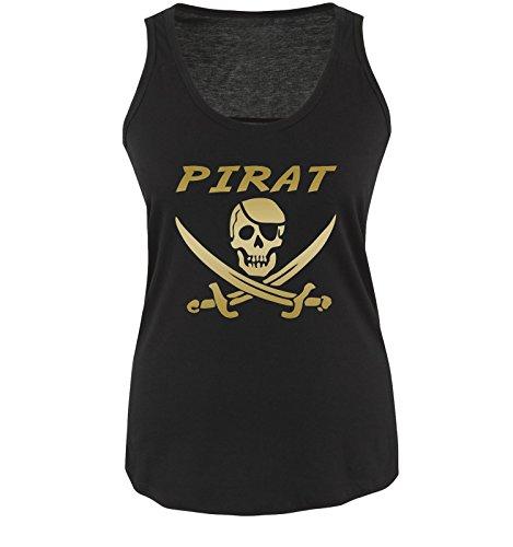PIRAT KOSTÜM - Damen Tank Top Shirt Schwarz/Gold Gr. - Gold Und Schwarz Piratenkostüm