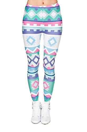 Minetom Damen 3D Digital Print Hosen Fitness Yoga Elastische Dehnbar Flexible Leggings Strumpfhose Bleistifthose Stil E Einheitsgröße