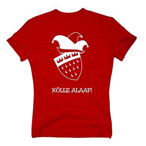 Fußball T-shirt Hut (T-Shirt Karneval Hut Kölle Alaaf Wappen Köln Weiberfastnacht Rosenmontag, XXXL, rot)