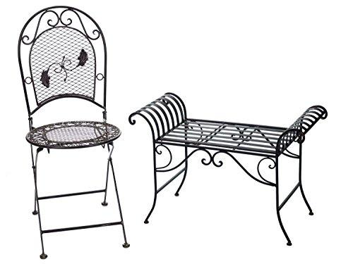 Nostalgie Gartenbank Metall Sitzbank antik Stil Bank Hocker garden bench - 5