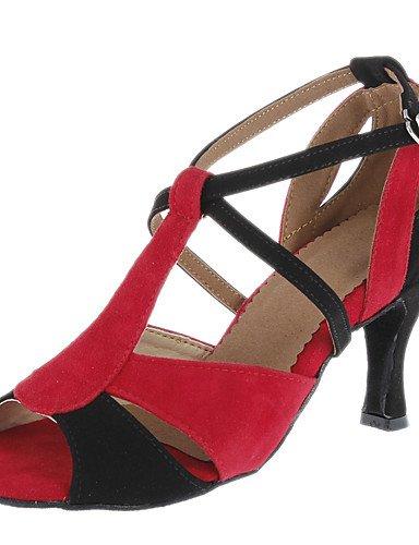 La mode moderne Sandales femmes personnalisables Chaussures de danse de bal latino/sur mesure en daim rouge Talon US6/EU36/UK4/CN36