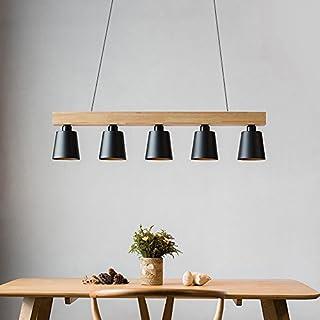 Elegant ZMH Pendelleuchte Esstisch Pendellampe Holz Und Metall Hängeleuchte  Höhenverstellbar Hängelampe Retro Deckenleuchte E27 Leuchtmittel Für  Esszimmer Home Design Ideas